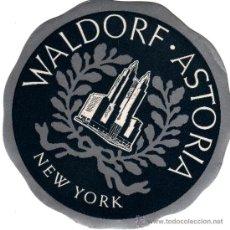 Etiquetas antigas: ANTIGUA ETIQUETA WALDORF ASTORIA NEW YORK. Lote 33752543