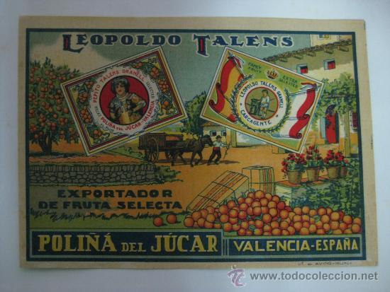 10 ANTIGUAS ETIQUETA DE NARANJAS - LEOPOLDO TALENS - POLIÑA DE JUCAR (VALENCIA) (Coleccionismo - Etiquetas)