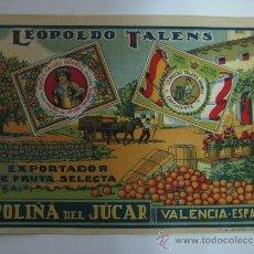 Etiquetas antiguas: 10 ANTIGUAS ETIQUETA DE NARANJAS - LEOPOLDO TALENS - POLIÑA DE JUCAR (VALENCIA). Lote 28229069