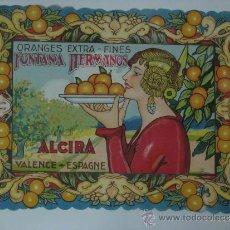 Etiquetas antiguas: PRECIOSA ETIQUETA NARANJAS FONTANA HERMANOS ALCIRA. Lote 87218804