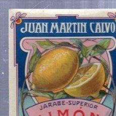 Etiquetas antiguas: ETIQUETA JUAN MARTÍN CALVO, JARABE SUPERIOR, VALLADOLID. Lote 34073877