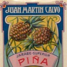Etiquetas antiguas: ETIQUETA JUAN MARTÍN CALVO, JARABE SUPERIOR, VALLADOLID. Lote 34073881