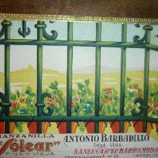 Etiquetas antiguas: ETIQUETA VINO ANTONIO BARBADILLO -SANLUCAR BARRAMEDA -MANZANILLA SOLEAR. Lote 34144144