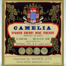 Etiquetas antiguas: ETIQUETA CAMELIA SPANISH SHERRY WINE VINEGAR GUADAL JEREZ IMPORTED BY WINES LDT. Lote 111322996