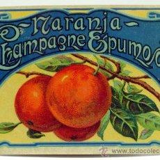 Etiquetas antigas: ETIQUETA NARANJA CHAMPAGNE ESPUMOSO. Lote 153216062