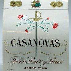 Etiquetas antiguas: ETIQUETA CASANOVAS FELIX RUIZ Y RUIZ JEREZ. Lote 36921379