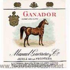 Etiquetas antiguas: ANTIGUA CONTRA- ETIQUETA CROMOLITOGRÁFICA COÑAC GANADOR MANUEL GUERRERO C JEREZ DE LA FRONTERA CADIZ. Lote 35082521