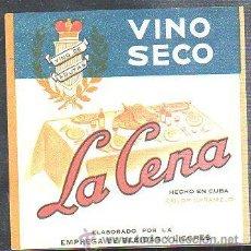 Etiquetas antiguas: ETIQUETA VINO SECO LA CENA, HECHO EN CUBA COLOR CARAMELO, 11 POR 15CM. Lote 35183573