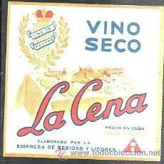 Etiquetas antiguas: ETIQUETA VINO SECO LA CENA, HECHO EN CUBA COLOR CARAMELO, 11 POR 15CM. Lote 35183582