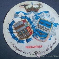 Etiquetas antiguas: ETIQUETA MALAGA FUNDADORES MARQUESES DE LARIOS Y DE GENAL. Lote 35204963