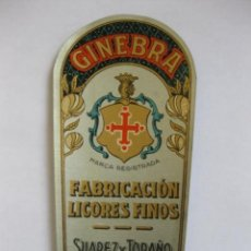 Etiquetas antiguas: ETIQUETA PARA BOTELLA DE GINEBRA, SUÁREZ Y TORAÑO, GIJÓN. Lote 194915231