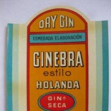 Etiquetas antiguas: ETIQUETA PARA BOTELLA DE GINEBRA ESTILO HOLANDA, DESTILERÍAS AURELIO G. FIDALGO S. A., OVIEDO. Lote 194915407