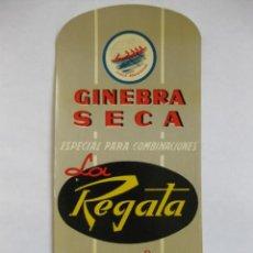 Etiquetas antiguas: ETIQUETA PARA BOTELLA DE GINEBRA SECA LA REGATA, IGNACIO BERNALDO DE QUIRÓS, S. A., MIERES. Lote 194915188