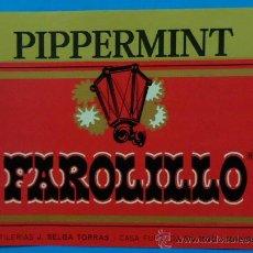 Etiquetas antiguas: PIPPERMINT FAROLILLO. DESTILERÍAS J. SELGA TORRÁS, MANRESA. 10,2 X 14 CM. Lote 35520164