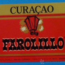 Etiquetas antiguas: CURAÇAO FAROLILLO. DESTILERÍAS J. SELGA TORRÁS. 9,8 X 14 CM. Lote 35520831