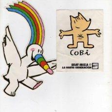 Etiquetas antiguas: 2 PEGATINAS, CURRO Y COBI. Lote 35596890