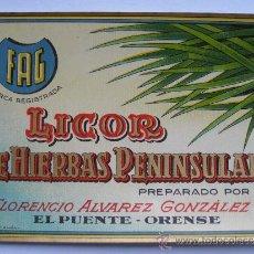 Etiquetas antiguas: ETIQUETA PARA BOTELLA DE LICOR DE HIERBAS PENINSULAR, FLORENCIO ÁLVAREZ GONZÁLEZ, EL PUENTE-ORENSE. Lote 194915078