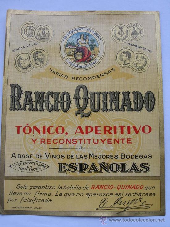 ETIQUETA PARA BOTELLA DE RANCIO QUINADO BODEGAS PONGA, VDA. DE JOSÉ RODRÍGUEZ PONGA, GIJÓN (Coleccionismo - Etiquetas)
