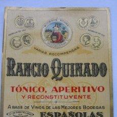 Etiquetas antiguas: ETIQUETA PARA BOTELLA DE RANCIO QUINADO BODEGAS PONGA, VDA. DE JOSÉ RODRÍGUEZ PONGA, GIJÓN. Lote 194915305