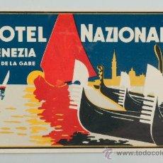 Etiquetas antiguas: ETIQUETA DE HOTEL HOTEL NAZIONALE, VENEZIA. Lote 36078569