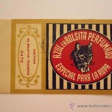 Etiquetas antiguas: ETIQUETA AZUL EN BOLSITA PERFUMADO. ESPECIAL PARA LA ROPA. GATO.. Lote 36093096