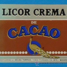 Etiquetas antiguas: ETIQUETA. LICOR CREMA DE CACAO. J. SELGA TORRÁS, MANRESA. 4 X 4,5 CM. Lote 36138474