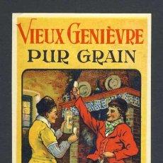 Etiquetas antiguas: ETIQUETA DE LICOR: VIEUX GENIEVRE PUR GRAIN. Lote 36143547