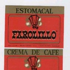 Etiquetas antiguas: 2 ETIQUETAS * FAROLILLO * (CREMA DE CAFE Y ESTOMACAL) - DESTILERIAS J. SELGA (MANRESA).. Lote 25918229