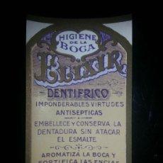 Etiquetas antiguas: ETIQUETA ELIXIR DENTRIFICO HIGIENE DE LA BOCA PROBABLE FARMACIA SERRA ORNOSA REUS. Lote 36743339