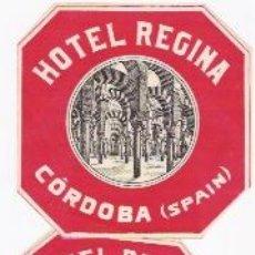 Etiquetas antiguas: 2 ETIQUETAS DE HOTEL REGINA -CORDOBA-. Lote 36930515