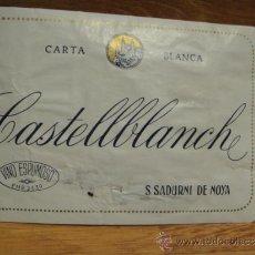 Etiquetas antiguas: ANTIGUA ETIQUETA VINO ESPUMOSO CASTELLBLANCH CARTA BLANCA - SAN SADURNI DE NOYA. Lote 37015532