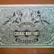 Etiquetas antiguas: ETIQUETA COGNAC MONTFORT. Lote 37026331