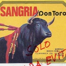 Etiquetas antiguas: VILAFRANCA DEL PENEDES SANGRIA DON TORO BOSCH-.GUELL ETIQUETA BOTELLA. Lote 37123700
