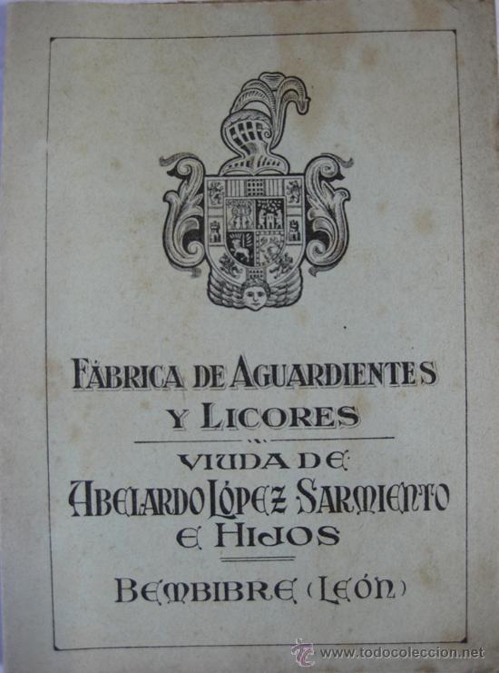CATÁLOGO DE LA FÁBRICA DE AGUARDIENTES Y LICORES VDA DE ABELARDO LÓPEZ SARMIENTO-HIJOS,BEMBIBRE-LEÓN (Coleccionismo - Etiquetas)