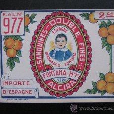 Etiquetas antiguas: ETIQUETAS NARANJAS BERNARDITO FONTANA, ALCIRA, VALENCIA - AÑOS 1940-50. Lote 269814973