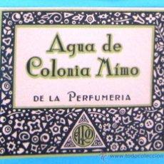 Etiquetas antiguas: ETIQUETA AGUA DE COLONIA MÍMO. DE LA PERFUMERIA ARO. BARCELONA, SIN FECHA.. Lote 38204145