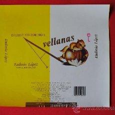 Etiquetas antiguas: ENVOLTORIO ANTIGUO TABLETA DE CHOCOLATE AVELLANAS. EUDOSIO LOPEZ (LA LLAVE) VALLADOLID. ORIGINAL. Lote 38363677