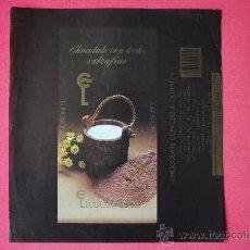 Etiquetas antiguas: ENVOLTORIO ANTIGUO TABLETA DE CHOCOLATE EXTRAFINO. EUDOSIO LOPEZ (LA LLAVE) VALLADOLID. ORIGINAL. Lote 38368816