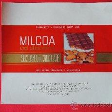 Etiquetas antiguas: ENVOLTORIO ANTIGUO TABLETA DE CHOCOLATE MILCOA. EUDOSIO LOPEZ (LA LLAVE) VALLADOLID. ORIGINAL. Lote 38372135