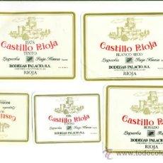 Etiquetas antiguas: BODEGAS PALACIO ETIQUETAS CASTILLO RIOJA LOTE 5 ETIQUETAS DISTINTAS. Lote 38413932