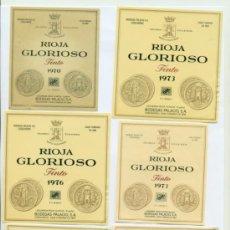 Etiquetas antiguas: BODEGAS PALACIO ETIQUETAS GLORIOSO RIOJA LOTE 6 ETIQUETAS AÑOS 70 TODAS DISTINTAS. Lote 38414013