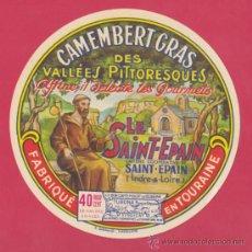 Etiquetas antiguas: ETIQUETA DE QUESO CAMEMBERT LE SAINT-EPAIN - FRANCIA - 11CM DIÁMETRO.. Lote 38531808