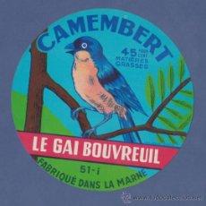 Etiquetas antiguas: ETIQUETA DE QUESO CAMEMBERT LE GAI BOUVREUIL-FRANCIA - 11CM DIÁMETRO.. Lote 38533420