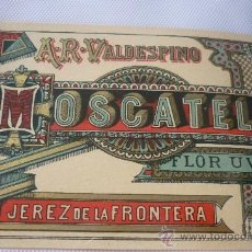 Etiquetas antiguas: MOSCATEL FLOR UVA DE A.R. VALDESPINO PRINCIPIOS SIGLO XX. Lote 38534173