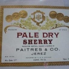 Etiquetas antiguas: PALÉ DRY SHERRY DE PAITRES & CO PRINCIPIOS SIGLO XX TROQUELADA EN INGLÉS . Lote 38534449