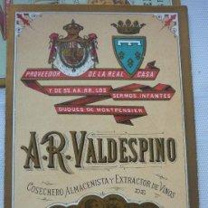 Etiquetas antiguas: TRÍPTICO, EN CARTÓN, DE LISTA DE PRECIOS DE VINOS DE A.R. VALDESPINO. FINALES SIGLO XIX. FONDO BEIGE. Lote 38560057
