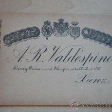 Etiquetas antiguas: TARJETA PUBLICIDAD EDITADA EN INGLÉS, EN CARTÓN, DE A.R. VALDESPINO PARA PEDIDOS TELEGRÁFICOS.. Lote 38562757