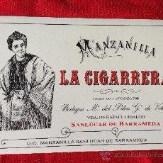 Etiquetas antigas: ETIQUETA PEGATINA LA CIGARRERA MANZANILLA SANLUCAR DE BARRAMEDA. Lote 38588423