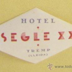Etiquetas antiguas: ETIQUETA HOTEL SEGLE XX, TREMP, LLEIDA.. Lote 38757093