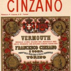 Etiquetas antiguas: CINZANO. VERMOUTH FRANCESCO CINZANO. TORINO. ETIQUETA ORIGINAL. Lote 39273808